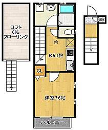 東京都品川区中延2丁目の賃貸アパートの間取り