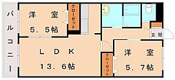 福岡県糟屋郡新宮町緑ケ浜1丁目の賃貸アパートの間取り