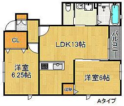 ベルリード阪南桜ヶ丘[1階]の間取り