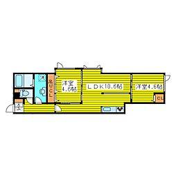 北海道札幌市東区北二十条東5丁目の賃貸アパートの間取り