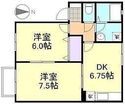 アルバ西中新田[2階]の間取り