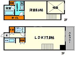 KDXレジデンス本町橋 14階1LDKの間取り