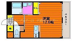 岡山電気軌道清輝橋線 清輝橋駅 徒歩4分の賃貸マンション 1階ワンルームの間取り