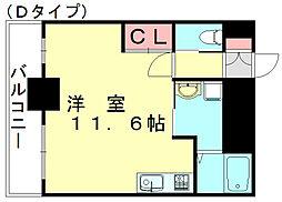 LUXEI 7階ワンルームの間取り