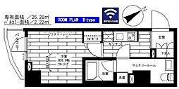 都営大江戸線 門前仲町駅 徒歩8分の賃貸マンション 6階1Kの間取り
