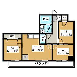 ヴィラトーヨー[4階]の間取り
