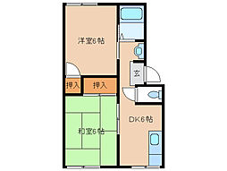 サニーパレス21 B棟[2階]の間取り