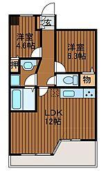 LANAIGARDENSHINYURIWEST[8階]の間取り