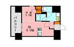 JR鹿児島本線 博多駅 徒歩21分の賃貸マンション 11階1DKの間取り
