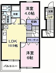 JR五日市線 武蔵引田駅 バス10分 小机坂下下車 徒歩3分の賃貸アパート 2階2LDKの間取り