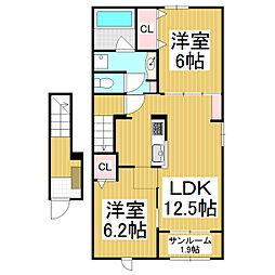 JR篠ノ井線 塩尻駅 バス8分 塩尻営業所下車 徒歩3分の賃貸アパート 2階2LDKの間取り
