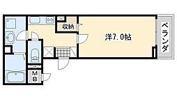 JR阪和線 熊取駅 徒歩5分の賃貸アパート 1階1Kの間取り