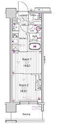 都営新宿線 東大島駅 徒歩14分の賃貸マンション 13階2Kの間取り