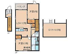 京都府京都市山科区御陵血洗町の賃貸アパートの間取り