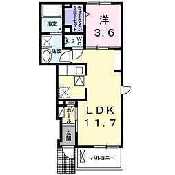JR身延線 小井川駅 徒歩7分の賃貸アパート 1階1LDKの間取り