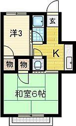 赤坂マンション[202号室]の間取り