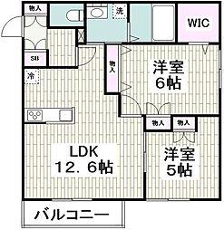 (仮称)平戸町メゾンB棟 2階2LDKの間取り
