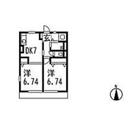 シュガーハイツ[2階]の間取り