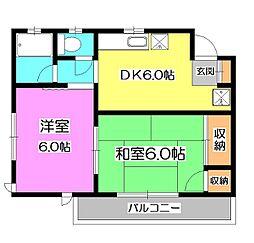 東京都清瀬市中里4丁目の賃貸アパートの間取り