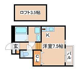 山陽電鉄本線 山陽須磨駅 徒歩9分の賃貸マンション 1階ワンルームの間取り