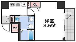 エグゼ西天満 7階1Kの間取り