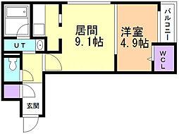 Foresta148 2階1DKの間取り