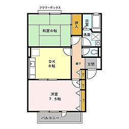 東京都立川市幸町6丁目の賃貸アパートの間取り