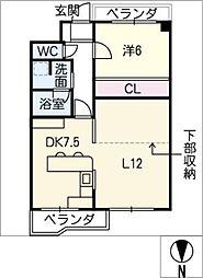 山七ビル 6階1LDKの間取り