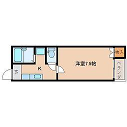 奈良県奈良市西大寺国見町2丁目の賃貸アパートの間取り