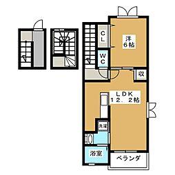 静岡県静岡市葵区巴町の賃貸アパートの間取り