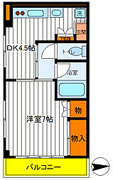 東京都国立市青柳3丁目の賃貸マンションの間取り