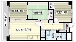 大阪府大阪市鶴見区諸口2丁目の賃貸マンションの間取り