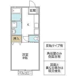 米田コーポ B 1階1Kの間取り
