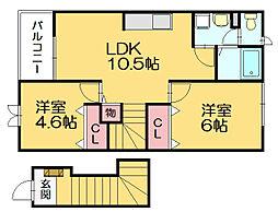 ウェルズハイムI[2階]の間取り