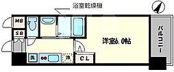 エステムコート中之島GATEII 4階1Kの間取り