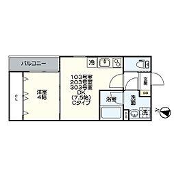 名古屋市営名港線 日比野駅 徒歩5分の賃貸アパート 1階1DKの間取り