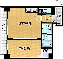 リオ城北 5階1LDKの間取り