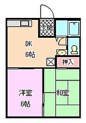 南海高野線 金剛駅 徒歩15分の賃貸アパート 1階2DKの間取り