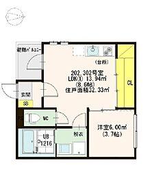 名古屋市営東山線 本陣駅 徒歩8分の賃貸アパート 2階1LDKの間取り