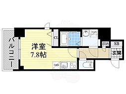 BPRレジデンス江坂(旧レジディア江坂2) 3階ワンルームの間取り