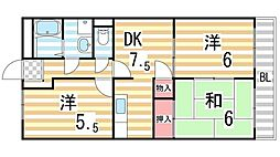 大阪府大東市深野3丁目の賃貸マンションの間取り