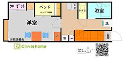 小田急小田原線 鶴川駅 徒歩26分の賃貸アパート 2階1Kの間取り