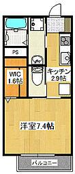 神鉄粟生線 小野駅 徒歩14分の賃貸アパート 2階1Kの間取り