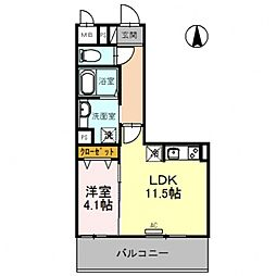 仮)D-room旭ヶ丘町 5階1LDKの間取り