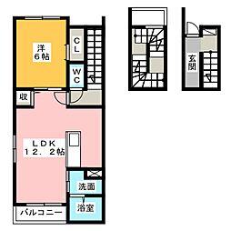 愛知県名古屋市港区宝神3丁目の賃貸アパートの間取り