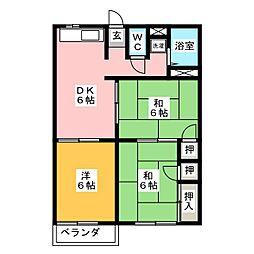 ファミール徳倉B[2階]の間取り