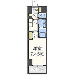 レジディア大阪福島 4階1Kの間取り