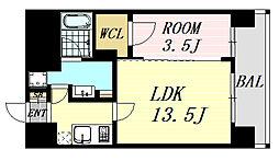 アスール江坂3rd 3階1LDKの間取り