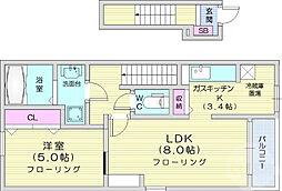 JR仙山線 葛岡駅 徒歩30分の賃貸アパート 2階1LDKの間取り