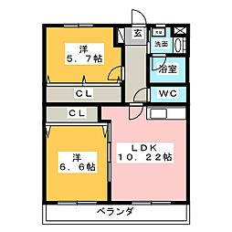ベルヴュー小坂[3階]の間取り